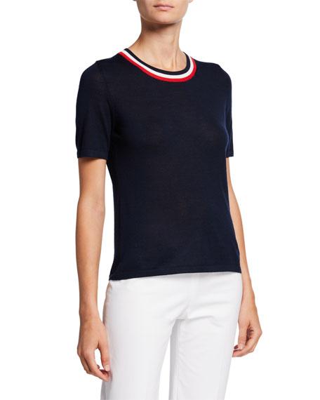 Escada Racing-Striped Wool-Silk Short-Sleeve Sweater