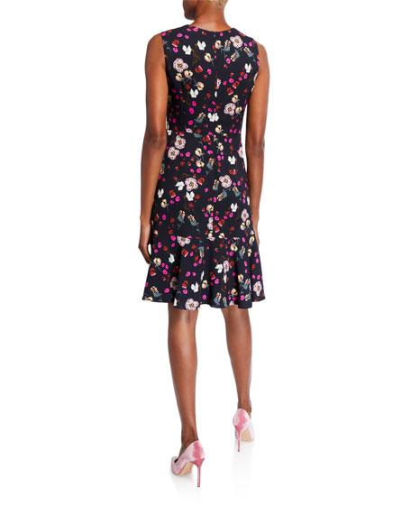 Escada Diora Floral-Print Jersey Flounce-Hem Dress