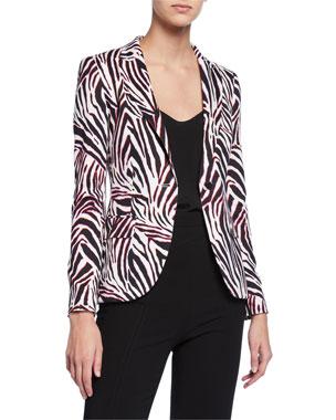 d9ef837a46 Escada Brikenan One-Button Zebra-Print Jersey Blazer