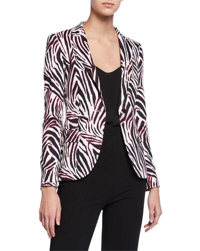 Brikenan One-Button Zebra-Print Jersey Blazer