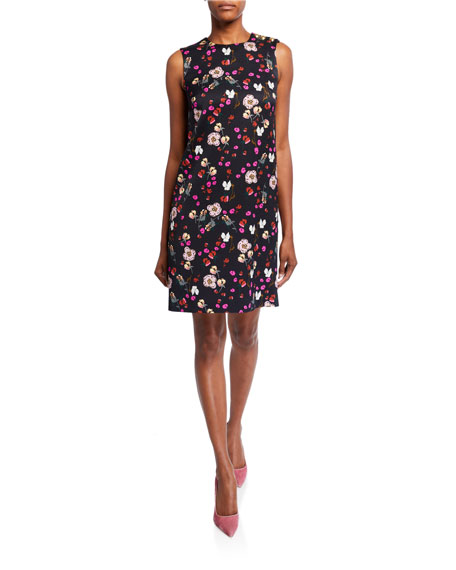 Escada Diarra Sleeveless Floral-Print Twill Dress