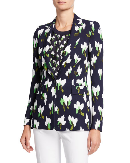 Escada Brikenan One-Button Abstract Floral-Print Jersey Blazer