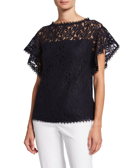 Escada Flutter-Sleeve Lace-Illusion Top
