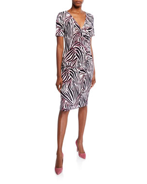4a350a6f31cf Escada Zebra-Striped Jersey Wrap Dress