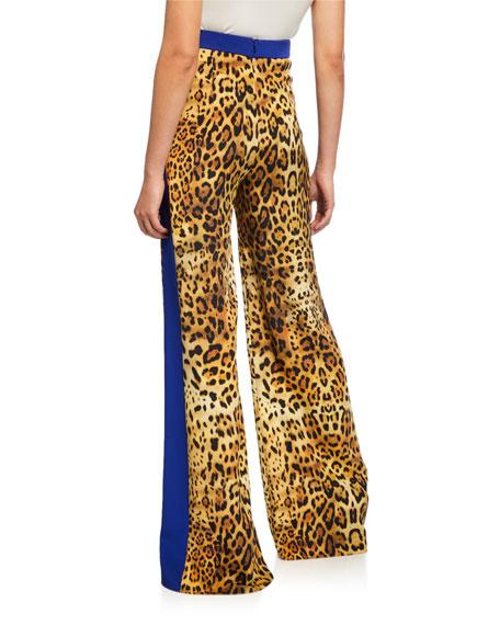CUSHNIE Leopard-Print High-Rise Wide-Leg Pants