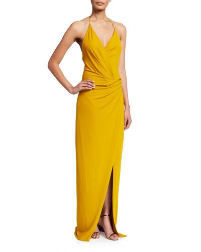 Halter-Neck Low-Back Gown