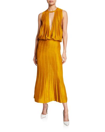 Pleated Keyhole Midi Dress