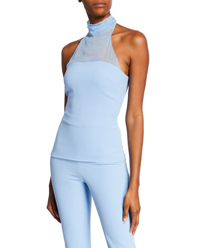 Sleeveless Fitted Chiffon-Halter Top