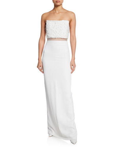 Sequined Strapless Column Illusion Gown