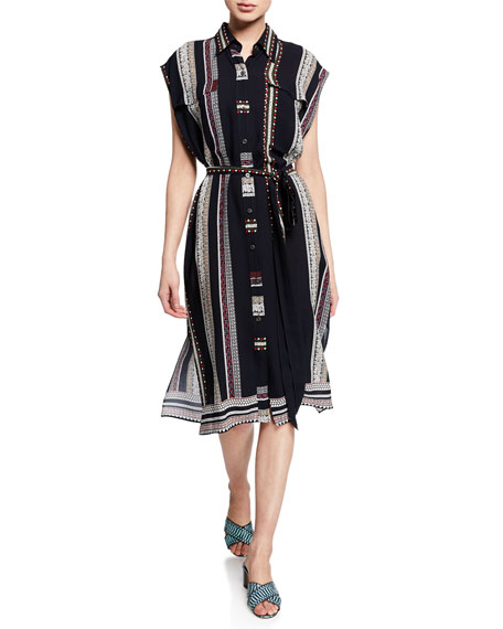 Derek Lam Dresses SLEEVELESS PROVINCIAL STRIPED DRESS