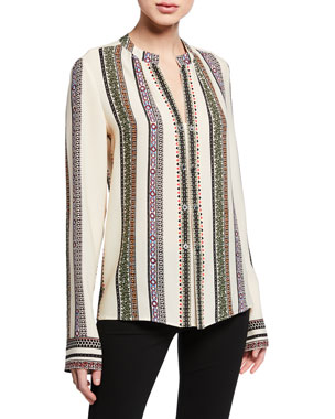 922256a46ef Derek Lam Kara Provencal Striped Button Blouse