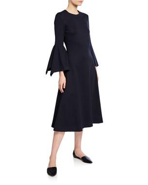 25b668fb3c01e Rosetta Getty Jewel Neck Scarf Sleeve Cocktail Dress