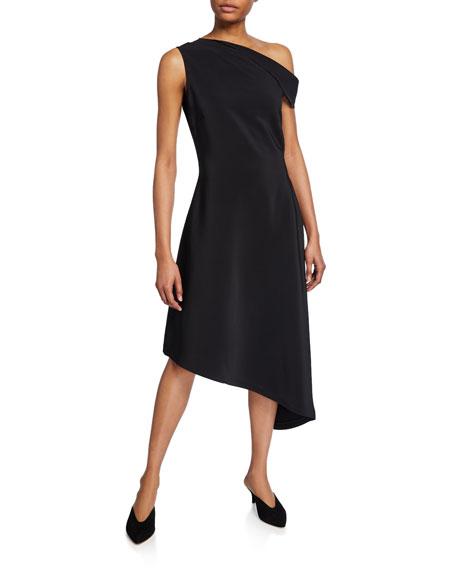 Rosetta Getty Dresses FOLDED ONE-SHOULDER HANDKERCHIEF DRESS
