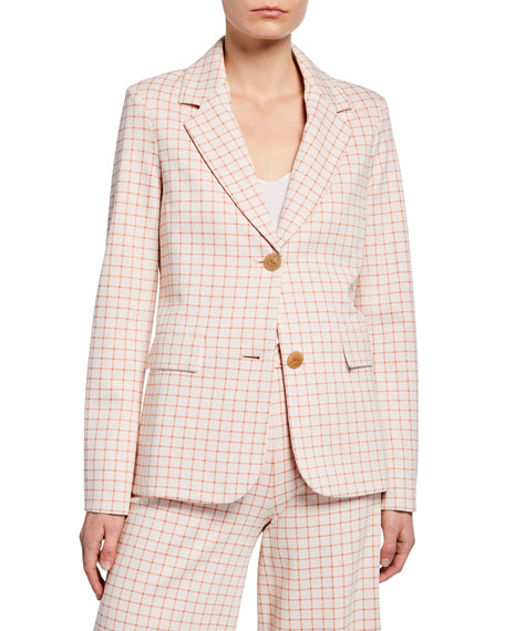 Rosetta Getty Jackets GRID INTERLOCKED BUTTON FITTED JACKET