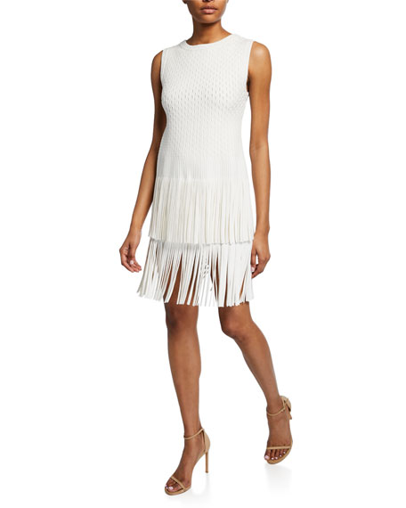 ALAIA Sleeveless Open Weave Fringe Dress