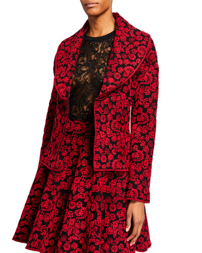 Iris Print Shawl-Collar Jacket