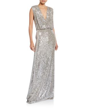 f6357baf68f Monique Lhuillier Sequined Deep-V Column Gown
