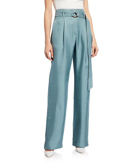 Sally Lapointe BELTED HIGH-WAIST SILK TWILL PANTS, BLUE