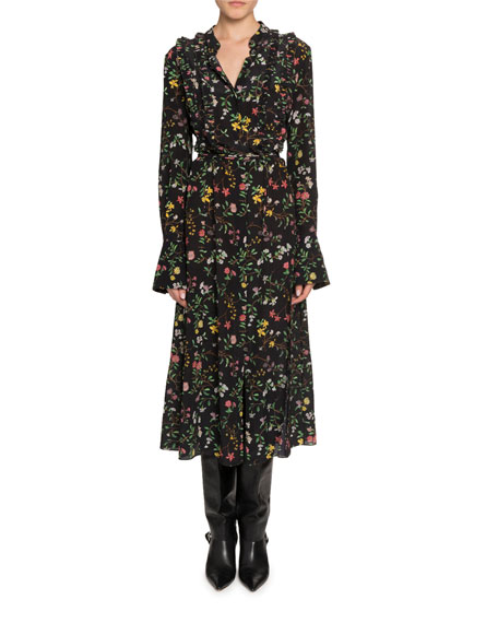 Altuzarra Dresses FLORAL PRINT LONG-SLEEVE TWISTED COLLAR DRESS