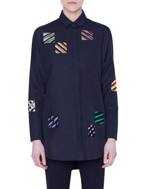 98710314e89a0b Akris punto Embroidered-Organza Square Button-Front Shirt