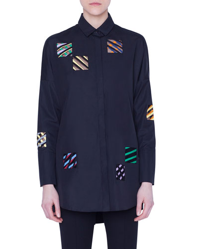 Embroidered-Organza Square Button-Front Shirt