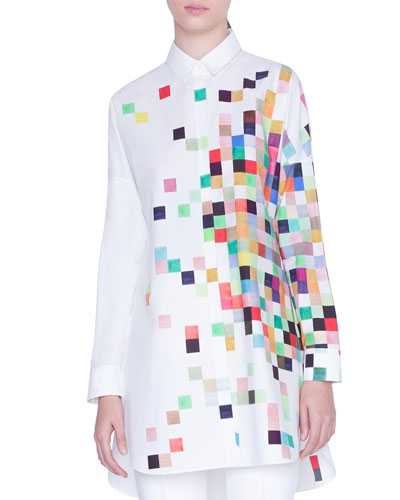 Pixelated Print Button-Front Tunic