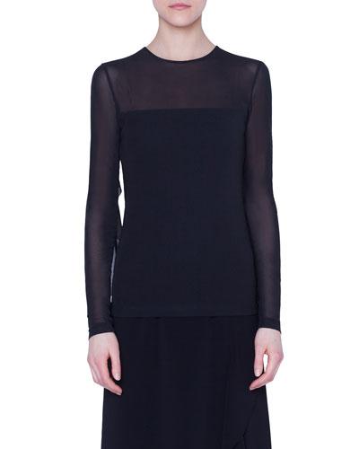 Long-Sleeve Tulle-Illusion Shirt