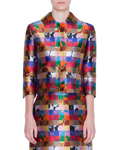 Cropped Floral-Jacquard Jacket