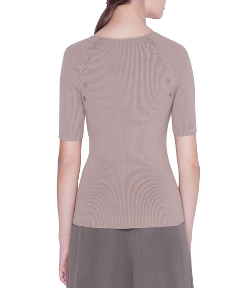Akris punto 1/2-Sleeve Eyelet-Trim Sweater