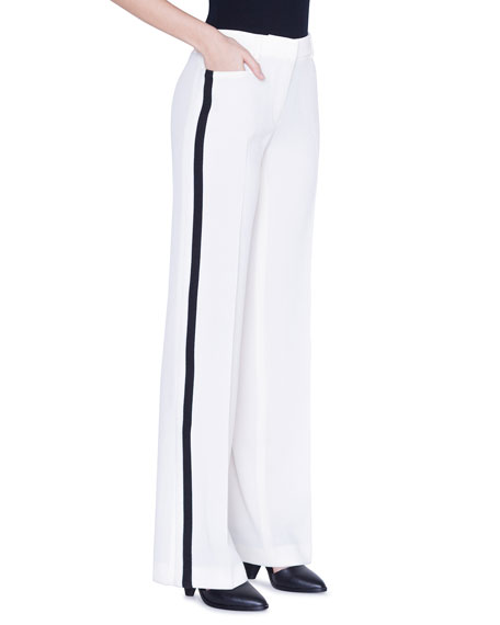 Akris Punto Suits MIKKA STRIPED TRACKSUIT-STYLE PANTS