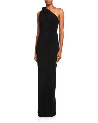 Knotted One-Shoulder Gown