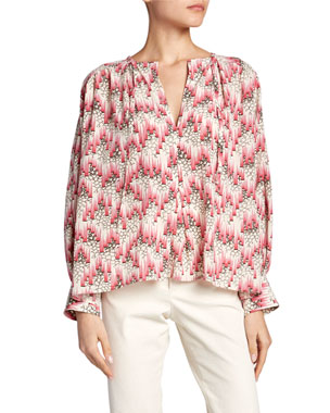 4e60a5a0a4d Isabel Marant Amba Long-Sleeve Abstract Blouse