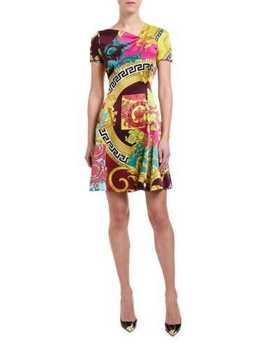 Short-Sleeve Multicolored Dress