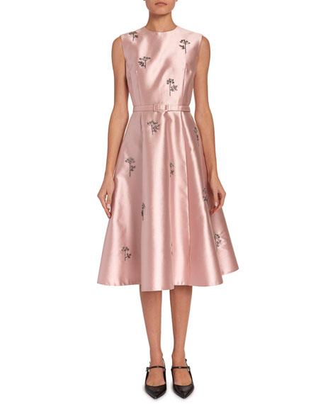 Erdem Farrah Beaded Mikado Belted Midi Dress