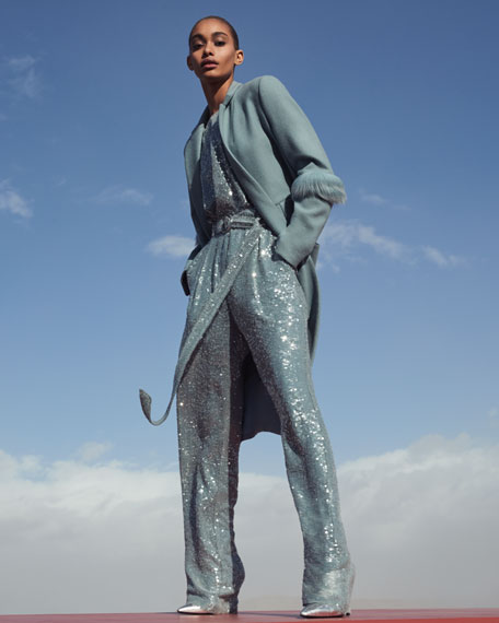 Sally LaPointe Sequined High-Waist Belted Pants