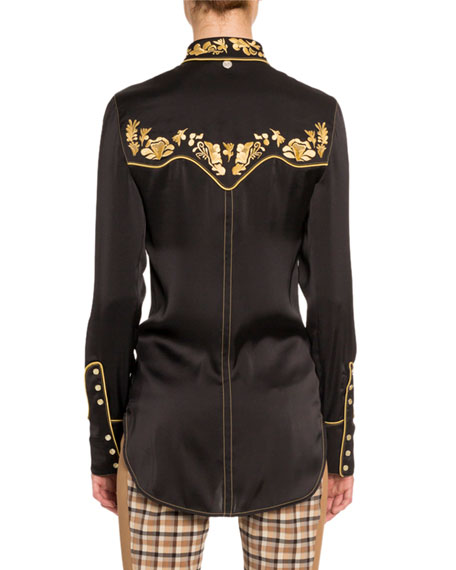 Paco Rabanne Western Embroidered Crepe Blouse