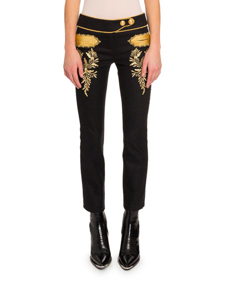 Paco Rabanne Embroidered Straight-Leg Pants