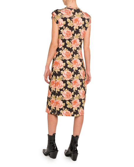 Paco Rabanne Floral Cap-Sleeve Bodycon Dress