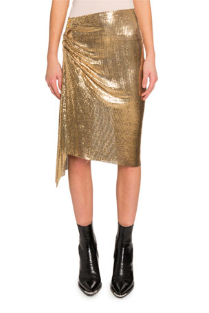 Paco Rabanne Draped Chainmail Mini Skirt