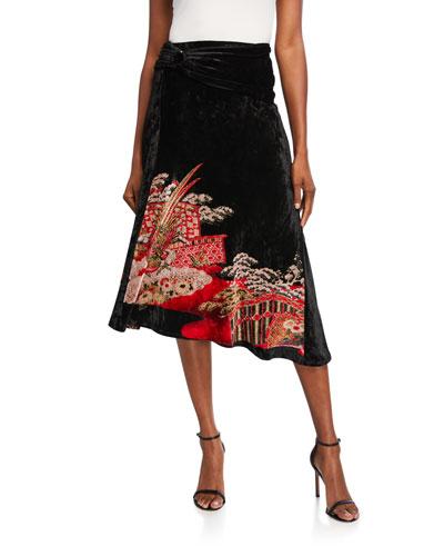 Velvet Chinese-Jacquard Asymmetric Skirt