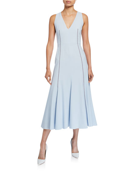Gabriela Hearst Annabelle Contrast-Stitched Sleeveless Silk Crepe Dress