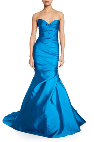 Monique Lhuillier Strapless Sweetheart Draped Mikado Mermaid Gown