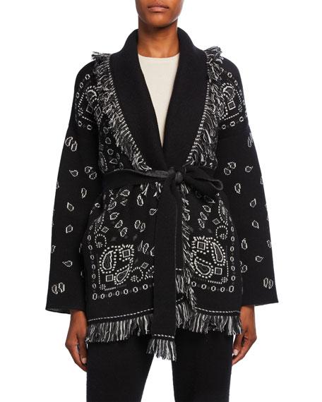 Alanui Cashmere Bandana-Jacquard Cardigan Sweater