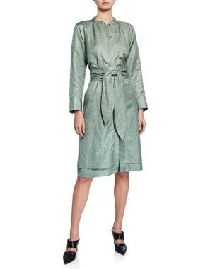 92a72083acf1 Partow Poe Shiny-Coated Linen Jewel-Neck Shirtdress