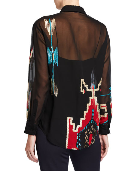 Ralph Lauren Collection Antonella Geometric Beaded Blouse with Camisole