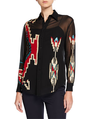 e768bca2f0dcfd Ralph Lauren Collection Antonella Geometric Beaded Blouse with Camisole