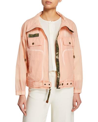 Camo-Lined Nylon Biker Jacket