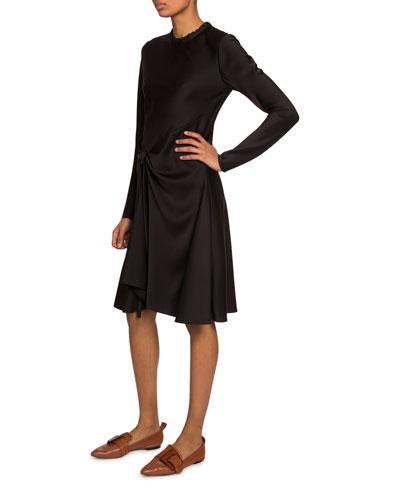 Long-Sleeve Gathered Satin Dress