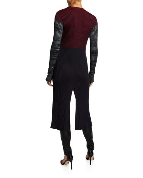Chloe Wool Colorblocked Sweater w/ Slit Front
