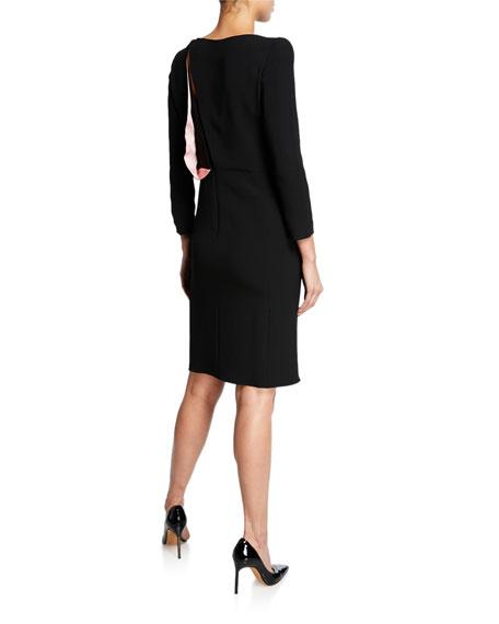 Emporio Armani Bracelet-Sleeve Dress w/ Satin-Drape Detail